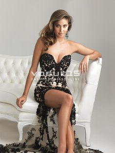 2013 Beautiful sweetheart neck black lace high low short prom dresses 6724_High-Low Prom Dresses_Prom Dresses_Cheap Quinceanera Dresses 2013,15 dresses 2013,Dama Dresses 2013,Cheap Prom dresses 2013,Cheap Party Dresses 2013,Clearance Dresses on Vogue15.com!