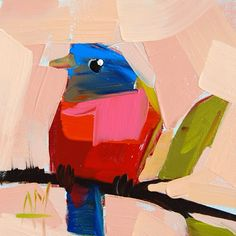 Angela Moulton - daily painting. http://angelamoulton.blogspot.com/2015/03/painted-bunting-no-27-painting.html
