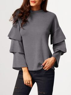 Grey Stand Collar Cascading Ruffle Sleeve Blouse 15.11 More
