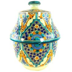 MORROCAN POTTERY TUREEN & COVER IZNIK PERSIAN INFLUENCE HAND PAINTED