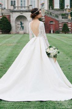 sareh nouri bridal fall 2016 long sleeve deep vneck aline ball gown wedding dress (laylee) bv train plunging back romantic elegant