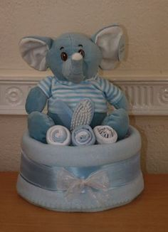 Gorgeous Elliott Elephant 1 Tier Baby Boys Nappy Cake/Baby Gift Basket