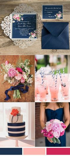 navy peach and hot pink wedding colors for 2016