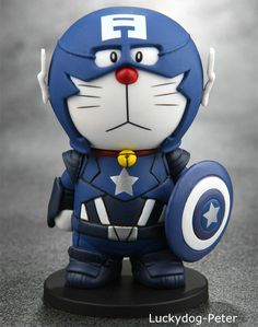 Doraemon Figura de Acción de Muñeca de Doraemon cos Captain America the Winter Soldier PVC ACGN Kit figura Garaje Anime 10 CM
