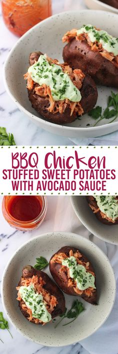 """BBQ Chicken Stuffed Sweet Potatoes with Avocado Sauce! Delicious!!! Blogger writes """"BBQ chicken stuffed sweet potatoes make an easy, healthy meal and are a great way to use leftover or rotisserie chicken. These sweet potatoes feature shredded chicken that has been tossed with BBQ sauce and a creamy dollop of Greek yogurt-based avocado sauce to round out this healthy lunch or dinner recipe."""" Perfect!"""
