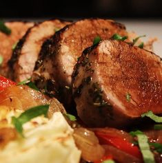 Recipe for succulent Balsamic Glazed Pork Fillet, roasted to perfection on a bed of onions and peppers. Healthy Family Meals, Healthy Dinner Recipes, Healthy Snacks, Easy Chicken Dinner Recipes, Pork Recipes, Pork Fillet, Balsamic Glaze, Good Enough To Eat, Herbes De Provence