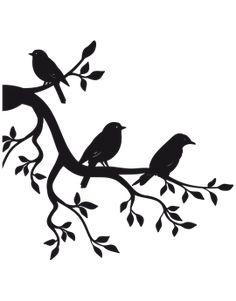 Sticker branche oiseau - illustration - oiseau    #branche #illustration #oiseau #Sticker Bird Stencil, Stencil Art, Stencils, Stencil Patterns, Stencil Designs, Paint Designs, Love Birds Painting, Wall Painting Decor, Wood Burning Patterns
