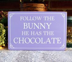 Follow The Bunny Wood Sign Funny Easter Wall by CountryWorkshop, $24.00