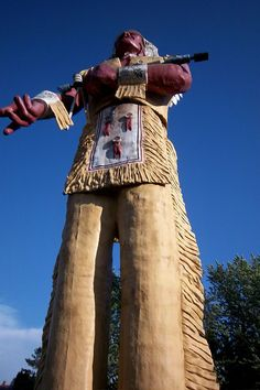Giant statue of Hiawatha in the Upper Peninsula of Michigan.
