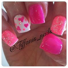 "Image via Hearts nail art design Image via ""I Love You"" Valentine's Day Nails by perfectly_nailed! Valentine's Day Nail Art Ideas Image via Cute Pink Love Simple Heart Nail Design Get Nails, Fancy Nails, Pretty Nails, Acryl Nails, Valentine Nail Art, Bright Nails, Fabulous Nails, Creative Nails, Holiday Nails"