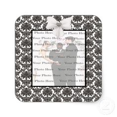 Damask Elegance Wedding Square Stickers #weddings