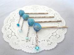 ブルーのシェル型カボッションのゆらゆらヘアピン4本セット Creema Handmade Crafts Hairpin Shell Blue Aqua Accessory ハンドメイド アクセサリー 貝