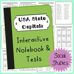State Capitals and Abbreviations Interactive Notebook and Tests. Low teacher prep. Super fun, low tech way to learn lifelong knowledge about the states.