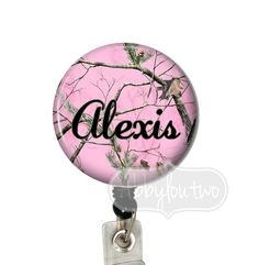 Pink Camouflage Bling Badge Reel #idtag #badgereel #idholder #abbyloutwo #name #badgeholder #stethoscopeidtag #stethoscope #initials #monogrammed #personalized