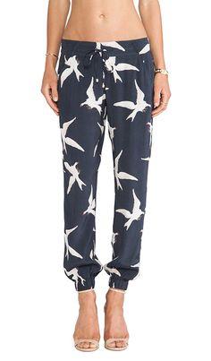 bird print pants