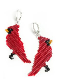 Brick Stitch. Cardinal Earrings (pattern/graph is not free), Sova-Enterprises