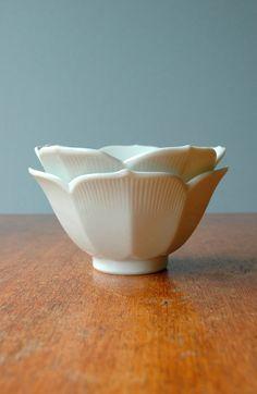 Pair of Vintage White Lotus Bowls