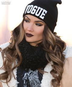 """""""V O G U E... Second day hair is perfect for hat days Beanie: @patricia_field, extensions: @bellamihair (code: MaryamNYC) burciaga blends, curled with…"""""""