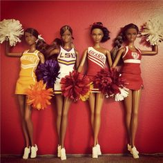 bigsamthompson:  thedollcafe:  University Cheerleader Barbies  Heck, yes! Sadly, I don't think they actually made these dolls in diverse colors, though. The ones I saw in stores were all white and multi-jointed (which is how I know these aren't the original dolls). We really need multi-jointed Barbie dolls in several different skin tones! How are these ladies supposed to cheer?!  @bigsamthompson Yes,  these are the actual dolls.  I don't think they were in stores.  I had to order the ones I…