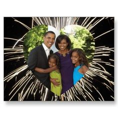 Shop President Obama America's First Family Photo Postcard created by obama_inauguration. First Family Photos, Barack Obama Family, Malia And Sasha, First Black President, Black Presidents, Barack And Michelle, Photo Postcards, Happy Family, Carolina Herrera