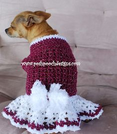 Ravelry: Winter Berry Dog Sweater Dress pattern by Sara Sach