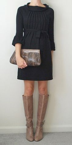 dresses with boots | Tag Archives: black dress brown boots
