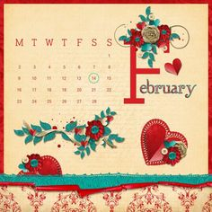Circle the date, a project by Heather for Valentines Day... I used Heartfelt by Angie Hinksman plus the February element & circle from the 2015 calendars (ombre) to create this layout.  both digikits are from (Daisytrail).