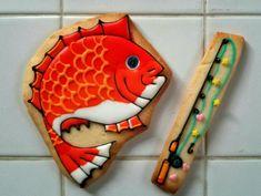 日本人のおやつ♫(^ω^) Japanese Sweets 鯛型クッキー Fish and fishing rod cookies! 鯛クッキーの画像(1/2) :: ★お絵菓子帳★