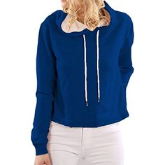 Women's Casual Solid Plus Size Pullover Hooded Sweatershirt Blouse -- More info could be found at the image url. (This is an affiliate link) #FashionHoodiesSweatshirts