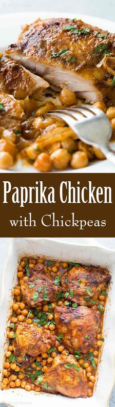 One pot easy baked chicken thighs with smoked paprika, onions, and chickpeas! You'll love how easily this dish comes together. So good! #1pot #ChickenDinner #EasyDinner #PaprikaChicken