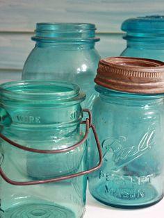 turquoise mason jars