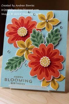 Stampin' Up! Flower Patch, Flower Fair framelits, photopolymer, Blooming birthday by andib_75 - Cards and Paper Crafts at Splitcoaststampers