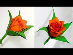 Origami rose (modular). Easy paper rose! Ideas for Christmas decoration. - YouTube