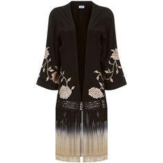 Talitha Black Rose Fringed Kimono (699.805 CLP) via Polyvore featuring intimates, robes, short kimono robe, rose kimono, crochet kimono, short kimono y embroidered kimono