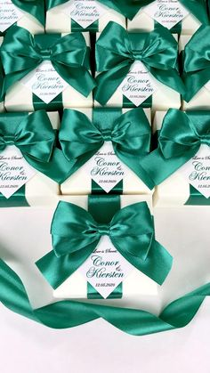 Elegant Ivory wedding favor boxes with Emerald Green satin ribbon bow and custom tag. Love is sweet personalized wedding bonbonniere for candies or small gifts for guests. #welcomebox #giftbox #personalizedgifts #giftideas #weddingfavor #weddingbox #weddingfavorideas #weddingfavors #weddingfavours #bonbonniere #weddingparty #sweetlove #favorboxes #candybox #elegantwedding #greenwedding #emeraldgreen #greenerywedding