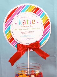 PRINTABLE Invitation DIY - Sweet Lollipop Birthday Party Invitation - PS168a