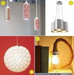 upcycled lighting | 11 awesome upcycled lighting ideas! Check 'em out: http://crb.li ...