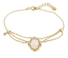 18K Gold ptd Sterling Silver Hamsa White Created Opal Bracelet