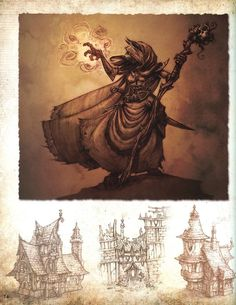 World of Warcraft - Concept art for a Gilnean caster and architecture. Character Art, Character Design, Character Creation, Concept Draw, Great Works Of Art, Fantasy City, Paper Drawing, Medieval Fantasy, Game Design