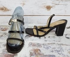 14ca37cfb6e Adrienne Vittadini Black Strappy Sandals Womens size 6 patent leather   AdrienneVittadini  SlingbackSandals  EveningParty