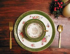 Green and Gold Floral Mismatched Vintage by DishUponAStar on Etsy