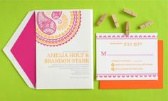 Dholki and henna bridal shower invitation 1 sided all bout bridal indian pattern letterpress wedding invitations filmwisefo Gallery