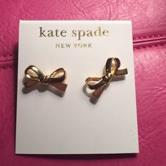 Kate Spade earrings 14 kt gold filled earrings. Absolutely perfect!! Never worn or taken out of the package, because I dont have my ears pierced... got them as a gift one year. So cute and stylish! Wish I could wear them! kate spade Jewelry Earrings