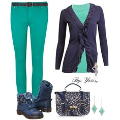 Teal & navy block colors. 324 #outfits #jeans #bags #shoes #accessories #moda #fashion #styles #jewelry #clothes #jacket #cardigans #sets #mystyle #navy #polyvore #floralprint