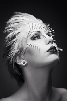 from DBM Photographer/Stylist/Hair/Makeup: TwistedPix Model: Charlie Baker Face Paint Makeup, Fx Makeup, Hair Makeup, Dark Beauty Magazine, Studs And Spikes, High Fashion Makeup, Emo Scene, Fantasy Makeup, Tatoo