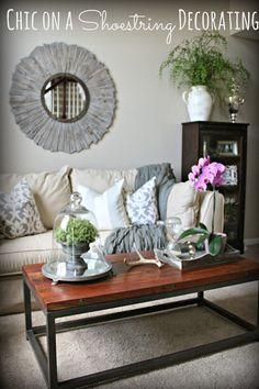 Chic on a Shoestring Decorating blog, budget-friendly grey living room makeover.