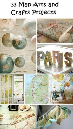 33 Map Arts and Crafts Projects - map map map! Another map idea, Linda Map Crafts, Travel Crafts, Crafts To Do, Crafts With Maps, Decor Crafts, Globe Crafts, Map Projects, Arts And Crafts Projects, Diy Projects To Try
