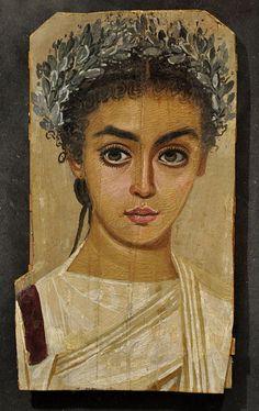 Mumienbildnis eines Mädchens, römisches Ägypten 120–150 n. Chr.; Wachsfarben (Enkaustik) auf Sykomorenholz