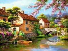 Country village canal - Desktop Nexus Wallpapers
