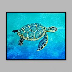 Sea Turtle Swimming. Art print from my by LittlePigStudios on Etsy